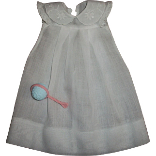 Original Effanbee White Embroidered Collar Dy-Dee Doll Gown & Rattle