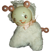 Most Adorable Celluloid & Mohair Kitty Baby Rattle For Dy-Dee or Other Baby Dolls