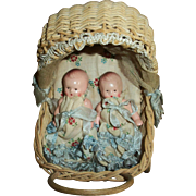 Twin Germany Small Jointed Bisque  Babies In Original Wicker Buggy - Red Tag Sale Item