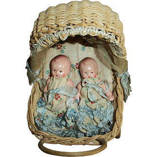 Twin Germany Small Jointed Bisque  Babies In Original Wicker Buggy