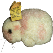 Cute Vintage Tagged Steiff Pink and Cream Wool Pom Bunny Rabbit