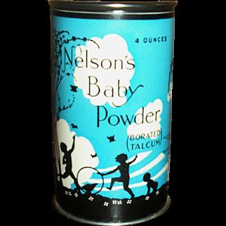 Vintage 4oz Nelson Baby Talc Powder~Great Graphics!!!~MINT!!