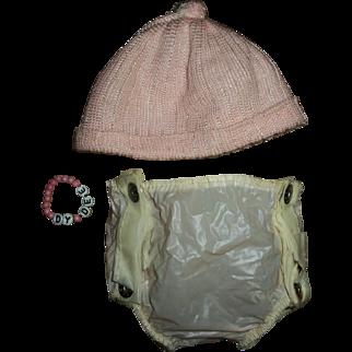 "Vintage 15"" Dy-Dee Name Bracelet~ Hard To Find Knit Infant Cap~Rubber Diaper Cover"