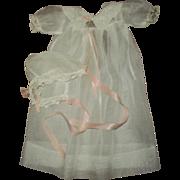 Vintage Effanbee Dy-Dee Mold 1 Organdy Christening Gown & Bonnet~FAO Schwarz Issued