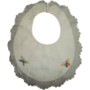 "Vintage Effanbee Dy-Dee Lou Embroidered ""No Kissing"" Bib"
