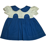 Lovely Vintage Blue and White Pique Dress For Chubby Body Girl