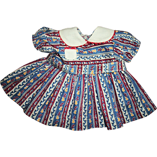 Vintage Cute Cotton Print Dress With Pique Collar For Chubby Girl Doll