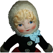 Vintage Velvet and Mohair Cloth Tagged Chad Valley Doll With Gorgeous Face!!