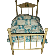 Vintage Large Wood and Wire Foldable Doll Bed With Feather Pillow & Coverlet