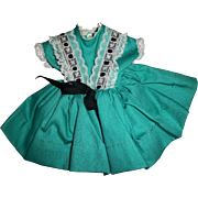 "Vintage Ideal 12"" Shirley Temple Turquoise Dress~Crispy MINT!!"