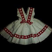 "Vintage Ideal 12"" Shirley Temple Pique Sleeveless School Dress~Crispy Mint!"