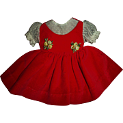 "Vintage Ideal 12"" Shirley Temple Red Velveteen Jumper Style Dress~MINT!!"