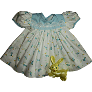 Vintage Factory Bunny Print Dress & Bunny Rattle For Tiny Tears~Betsy Wetsy~Baby Dolls