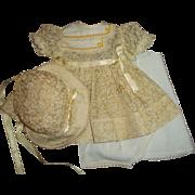 Pretty Printed Organdy Ideal Dress Set~Dress~Bonnet~Slip~Panties