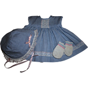 Cutest Summer Dress and Bonnet Factory Set With Booties For Tiny Tears, Betsy Wetsy or Other Baby Dolls