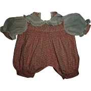 "Vintage Smocked Short Romper With Pleated Ruffles For 13"" Dy-Dee or Compo Babies"