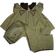 Vintage 1930s Tagged Molly'es Shirley Temple Dress Set~Dress~Romper~Hat Set