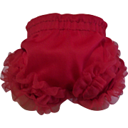 """Cute Vintage Fancy Red Ruffled Nylon Panties For 13""""-14"""" Tiny Tears, Betsy Wetsy and Friends"""