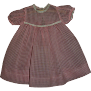 "Vintage MINT!! Pink Windowpane Organdy Effanbee 20"" Dy-Dee Lou Dress~PERFECT!!"