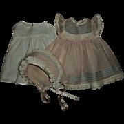 """Beautiful Crispy Organdy Baby Doll Dress~Bonnet~Slip Set Fits 15"""" Effanbee Dy-Dee Doll"""