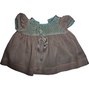 """Vintage Effanbee 13"""" Dy-Dee Pink Dimity Dress With Eyelet Bodice"""