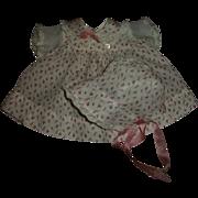 "Vintage Adorable  Effanbee 15"" Dy-Dee Rosebud Dimity Dress and Bonnet"