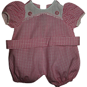 """MINT!  Pink and White Check Cotton Factory Romper For 13"""" Tiny Tears or Betsy Wetsy or Others"""