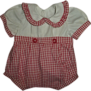 """Vintage Red and White Check Effanbee 15"""" Dy-Dee Romper~Cute!"""