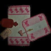 Vintage 1930s Effanbee Dy-Dee Doll Washcloth~Towel~Wood Bubble Pipe~Soap~Hot Water Bottle