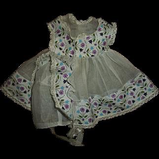 "Vintage Factory Organdy & Purple Ladybugs With Flowers  15"" Betsy Wetsy, Tiny Tears Dress & Bonnet Set"
