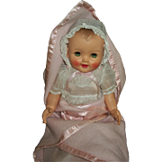 Vintage 1950s Vinyl Baby Doll All Original With Gorgeous Christening Outfit and Blanket