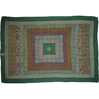 Beautiful Vintage Hand Quilted Feedsack Doll Quilt