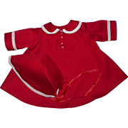 """MINT!! Christmas Red Factory Coat and Bonnet Set For Large 18""""-20"""" Tiny Tears and Others"""