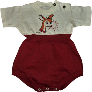 """MINT!!Adorable Vintage 50's """"Rudolph The Red Nosed Reindeer"""" Christmas Romper For Large Realistic Size Baby Dolls"""