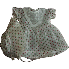 Vintage Baby Doll  Rosebud Print Dimity Dress With Matching Bonnet