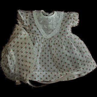 Vintage Baby Doll  Rosebud Print Dimity Dress With Matching Bonnet