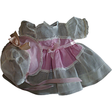 Vintage Factory Organdy & Pique Bonnet & Dress Set For Dy-Dee, Ideal Dolls, and other Baby Dolls