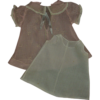 Vintage Factory Organdy Dress & Slip For Composition Baby or Momma Dolls
