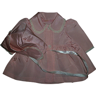 """Vintage Factory Silky Pink Taffeta Coat and Bonnet Set For 17""""-18"""" Baby Dolls"""