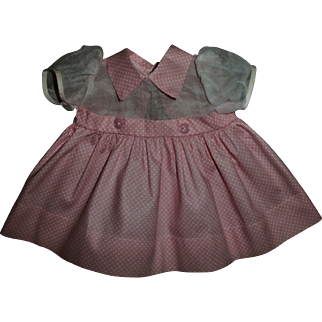 """Vintage Factory Polished Cotton and Organdy Dress For 15"""" Dy-Dee and Friends"""