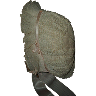 Gorgeous Ruffled Lace and Silk Bonnet For Composition or Bisque Dolls