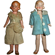 1920 Flappers German Bisque Miniature Jointed Dressed Dolls