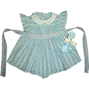 "For 20"" Dy-Dee Doll~Original Effanbee Smocked Romper With Celluloid Rattle"