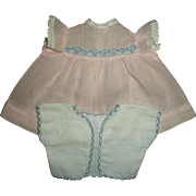 Vintage Effanbee Dy-Dee Baby Doll Pink Dress and Scalloped Edge Flannel Short Kimono/Diaper Top