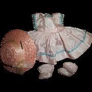 """Vintage Crispy Taffeta Colgate Fab 8"""" Doll Dress~Pink Straw Hat~Pink Socks"""