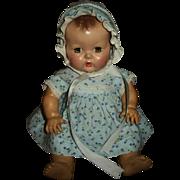 "Cute Vintage 11""Dy-Dee Factory Blue Cherry Print Dress and Bonnet"