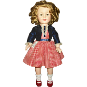 "Vintage 19""Ideal Vinyl Shirley Temple~Flirty Eyed~Doll With Tagged Dress"