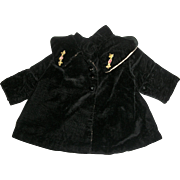 Black Plush Velvet Coat With Shawl Collar~Ribbon Flower Trim