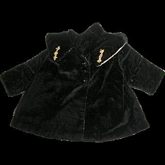 Black Plush Velvet Coat With Shawl Collar~Ribbon Flower Trim