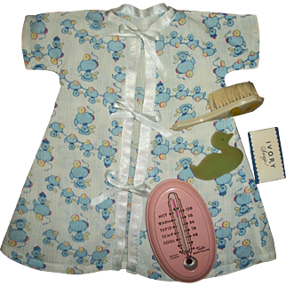 Vintage Baby Bath Thermometer With Dy-Dee Doll Bath Layette Items